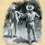 "Original gouache illustration by Gordon Brown for Stevenson's story ""The Beach of Falesa,"" (1893)."